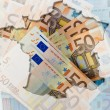 Outline map of France with transparent euro banknotes in backgro — Stock Photo