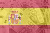 Flag of Spain with transparent euro banknotes in background — Stock Photo
