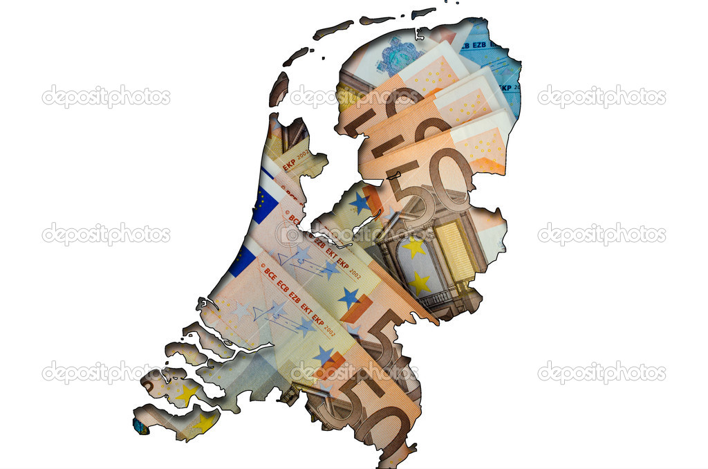 Outlined map of Netherlands with background of euro banknotes — Stock Photo #6692920
