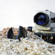 Theodolite on chipping — Stock Photo