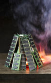 Burning random access memory — 图库照片