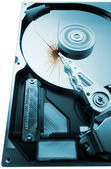 Broken hard disk on white background — Stockfoto