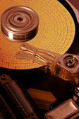 Open hard disk with symbolized data — Stock Photo