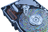 Hard disk drive with colored fingerprint — Stock Photo