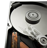 Rotating hard disk with moving head — Stock Photo