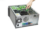 Open computer getting upgrade — Stock Photo