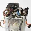 Electronic parts from computers in trash can — Stock Photo
