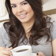 Royalty-Free Stock Photo: Beautiful Hispanic Latina Woman Drinking Tea or Coffee