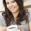 Beautiful Hispanic Latina Woman Drinking Tea or Coffee — Stock Photo