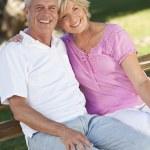 Happy Senior Couple Smiling Outside in Sunshine — Stock Photo #6266425