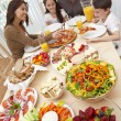 Parents Children Family Eating Pizza & Salad At Dining Table — Stock Photo #6287818