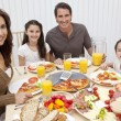 Parents Children Family Eating Pizza & Salad At Dining Table — Stock Photo #6287821