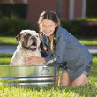 Pretty Young Girl Washing Her Pet Dog In A Tub — Stock Photo