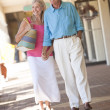 Royalty-Free Stock Photo: Happy Senior Couple Holding Hands in Shopping Mall