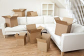 Room Of Cardboard Boxes for Moving House — Stock Photo