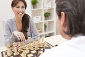 Happy Man & Woman Couple Playing Chess — Stock Photo