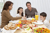 Parents Children Family Eating Pizza & Salad At Dining Table — 图库照片