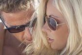 Sexy Attractive Man and Woman Couple Happy In Sunglasses — Stock Photo