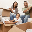 Stock Photo: AfricAmericFamily Unpacking Boxes Moving House