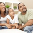 Happy Smiling African American Family At Home — Stock Photo