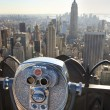 Manhattan Skyline And Tourist Binoculars New York City — Stock fotografie