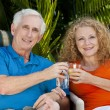 Senior Man Woman Couple Enjoying Retirement Drinks on Vacation — Stock Photo