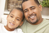 Happy African American Father and Son Family — Stock Photo