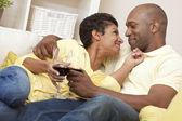 Happy African American Man & Woman Couple Drinking Wine — Foto de Stock