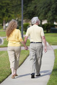 Rear View Senior Man and Woman Couple Walking Holding Hands — Stock Photo