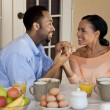 Happy African American Couple Holding Hands At Healthy Breakfast — Stock Photo #6469701
