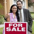 African American Couple & House For Sale Sold Sign — 图库照片