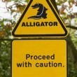 Caution Alligator Danger Sign - Stock Photo