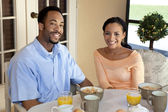 Happy African American Couple Eating Healthy Breakfast — Stock Photo