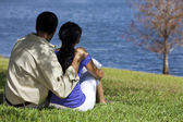 Rear View of African American Couple Sitting By Lake — Stock Photo
