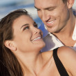 Romantic Man and Woman Couple Happy Smiling On Beach — Stock Photo #6470067