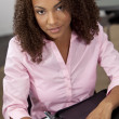 Beautiful Mixed Race African American Female Student or Business — Stock Photo
