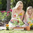 Woman and Girl, Mother & Daughter, Gardening Planting Flowers — Stock Photo