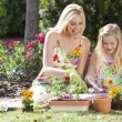 Woman and Girl, Mother & Daughter, Gardening Planting Flowers — Foto Stock #6470119