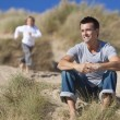 Man & Boy, Father and Son Having Fun At Beach — Stock Photo #6470149