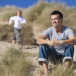 Man & Boy, Father and Son Having Fun At Beach — Stock Photo