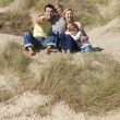Стоковое фото: Mother, Father and Two Boys Sitting Having Fun At Beach