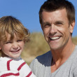 Man &amp; Boy, Father and Son Having Fun Outside - Stock Photo