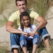Man & Girl, Happy Father and Daughter Sitting At Beach — Stock Photo