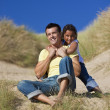 Stock Photo: Man & Girl, Happy Father and Daughter Playing At Beach