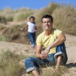 Stockfoto: Man & Girl, Happy Father and Daughter Playing At Beach