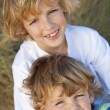 Two Little Boys, Brothers, Together on A Sunny Beach — Stock Photo