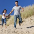 Stock Photo: Man & Girl, Happy Father and Daughter Running At Beach