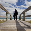 Businessman Standing Barefoot Looking Across A Beach To The Sea — Stock Photo
