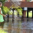 Pretty Young Girl Child Fishing On A RIver — Stock Photo