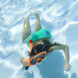 Girl Child Swimming Underwater in Pool with Goggles and Snorkel — Stock Photo